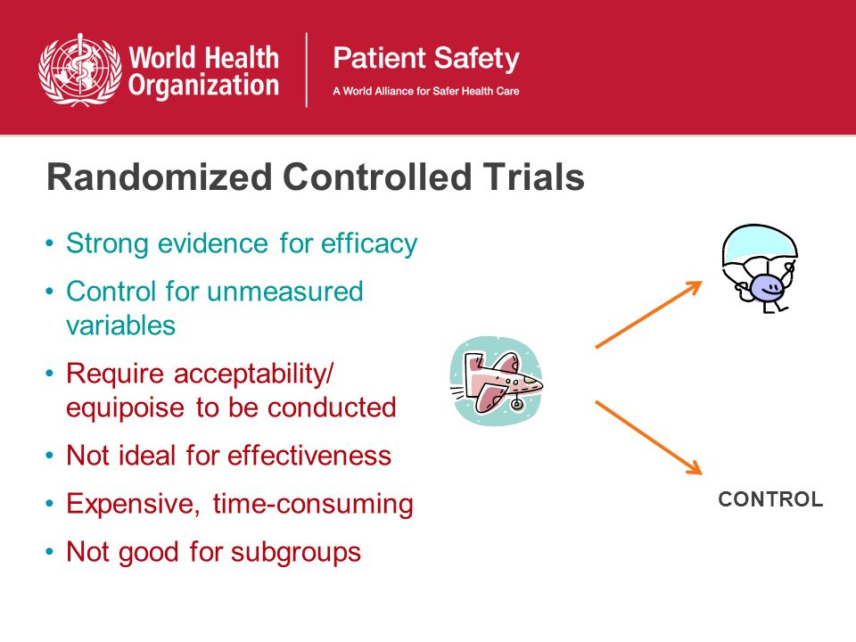 Randomized Controlled Trials Strong evidence for efficacy Control for unmeasured variables Require acceptability/ equipoise to be conducted Not ideal for effectiveness Expensive, time-consuming Not good for subgroups CONTROL