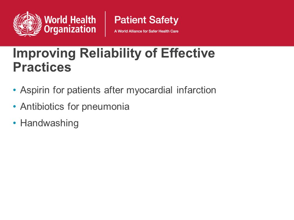 Improving Reliability of Effective Practices Aspirin for patients after myocardial infarction Antibiotics for pneumonia Handwashing