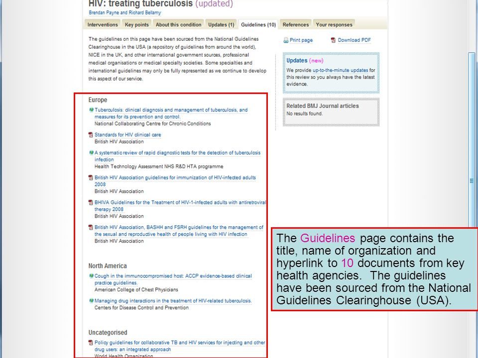 The Guidelines page contains the title, name of organization and hyperlink to 10 documents from key health agencies.