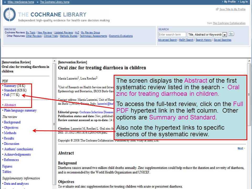 The screen displays the Abstract of the first systematic review listed in the search - Oral zinc for treating diarrhoea in children.