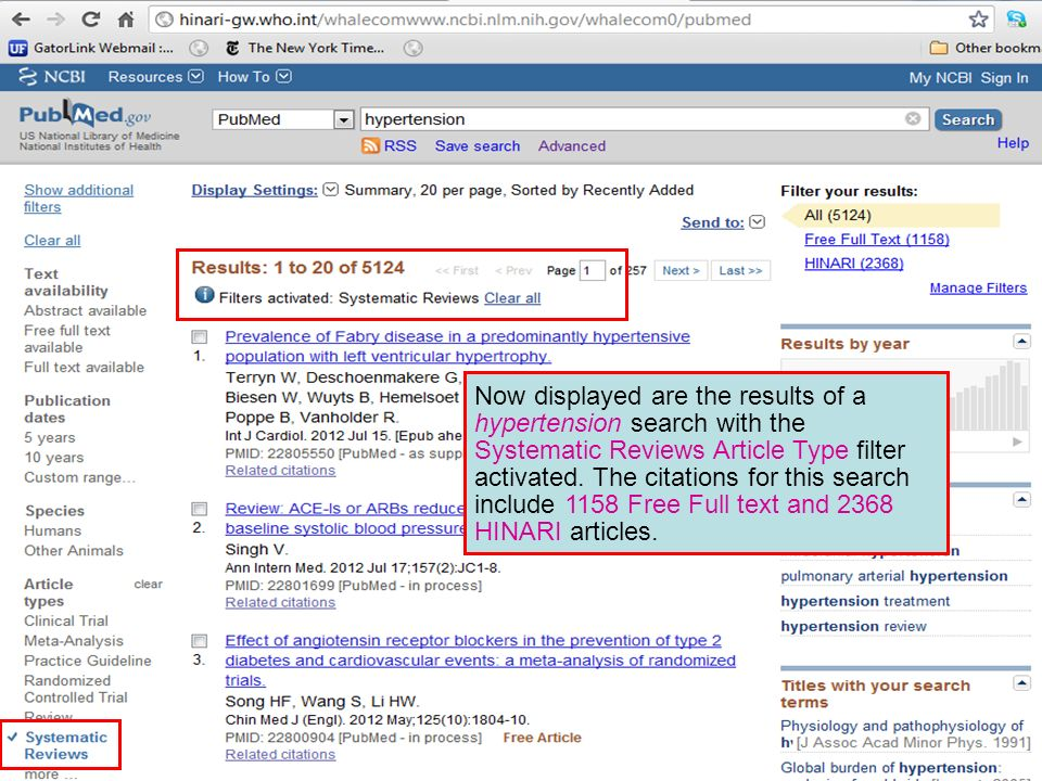 Now displayed are the results of a hypertension search with the Systematic Reviews Article Type filter activated.