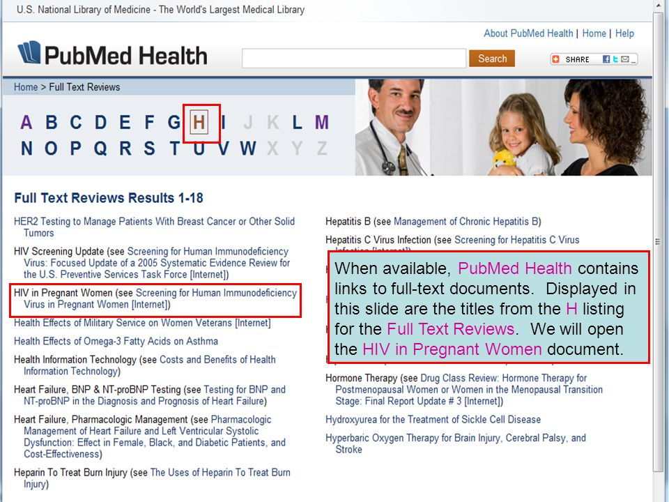 When available, PubMed Health contains links to full-text documents.
