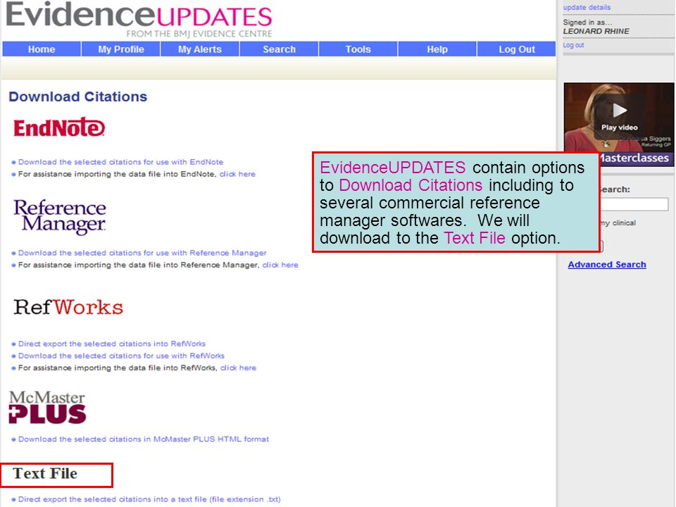 EvidenceUPDATES contain options to Download Citations including to several commercial reference manager softwares.