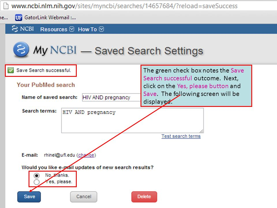 The green check box notes the Save Search successful outcome.
