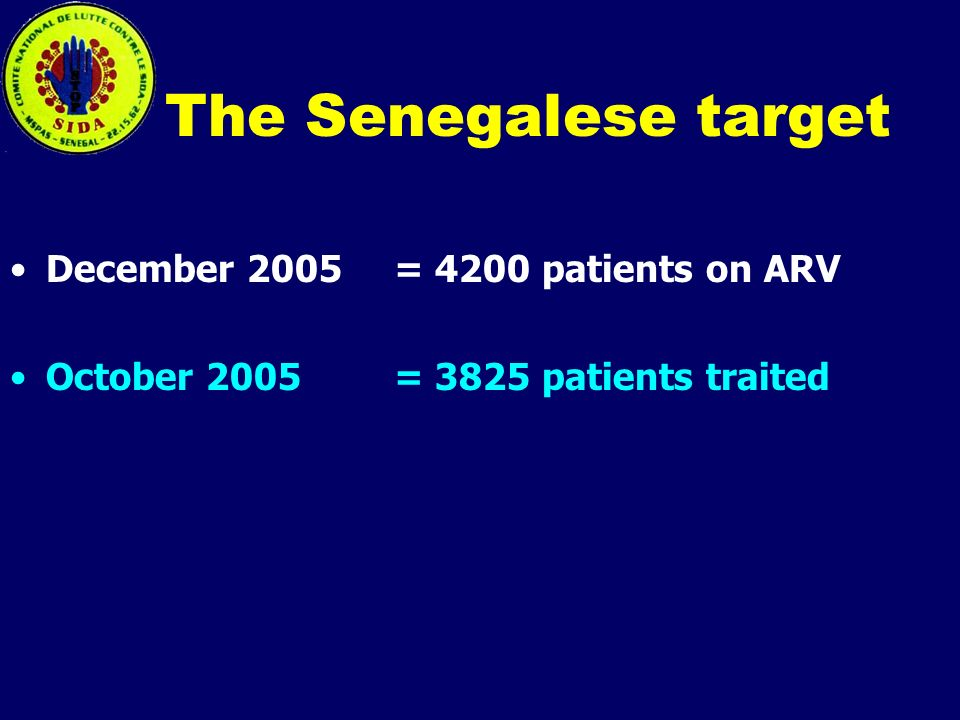 The Senegalese target December 2005 = 4200 patients on ARV October 2005 = 3825 patients traited