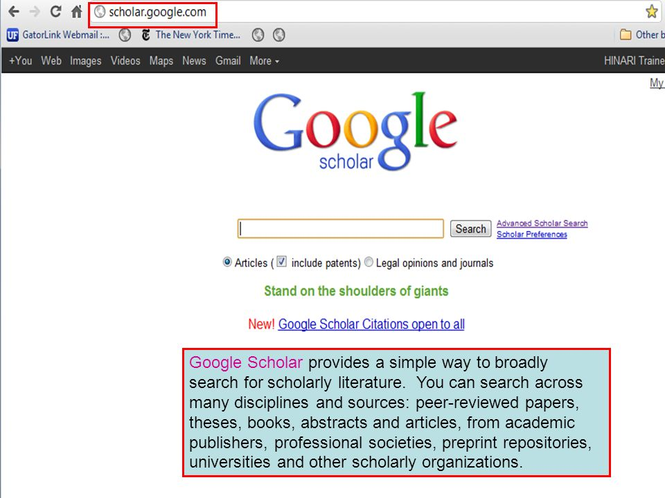 Google Scholar provides a simple way to broadly search for scholarly literature.