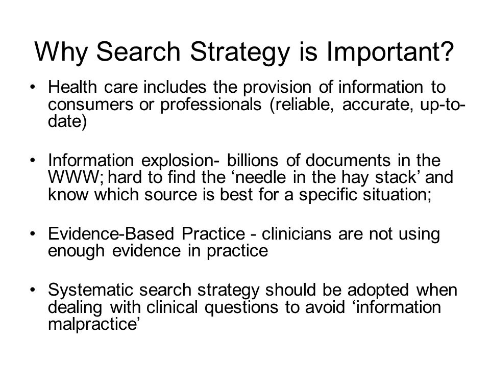 Why Search Strategy is Important.