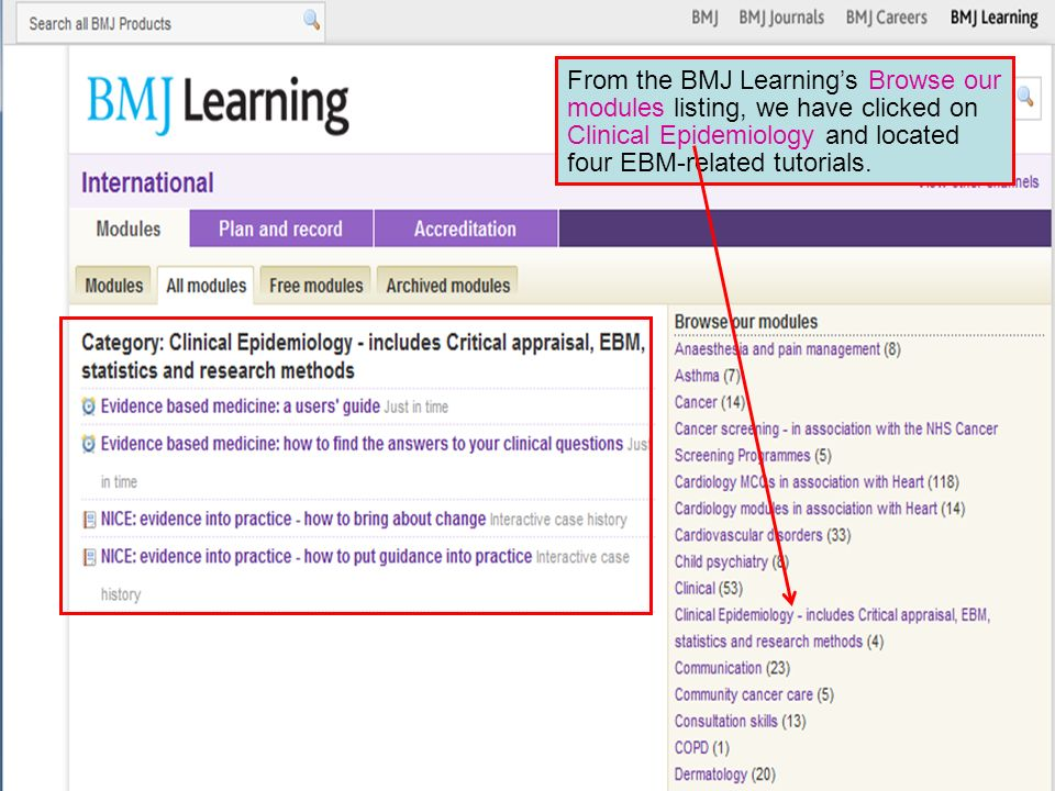 From the BMJ Learnings Browse our modules listing, we have clicked on Clinical Epidemiology and located four EBM-related tutorials.