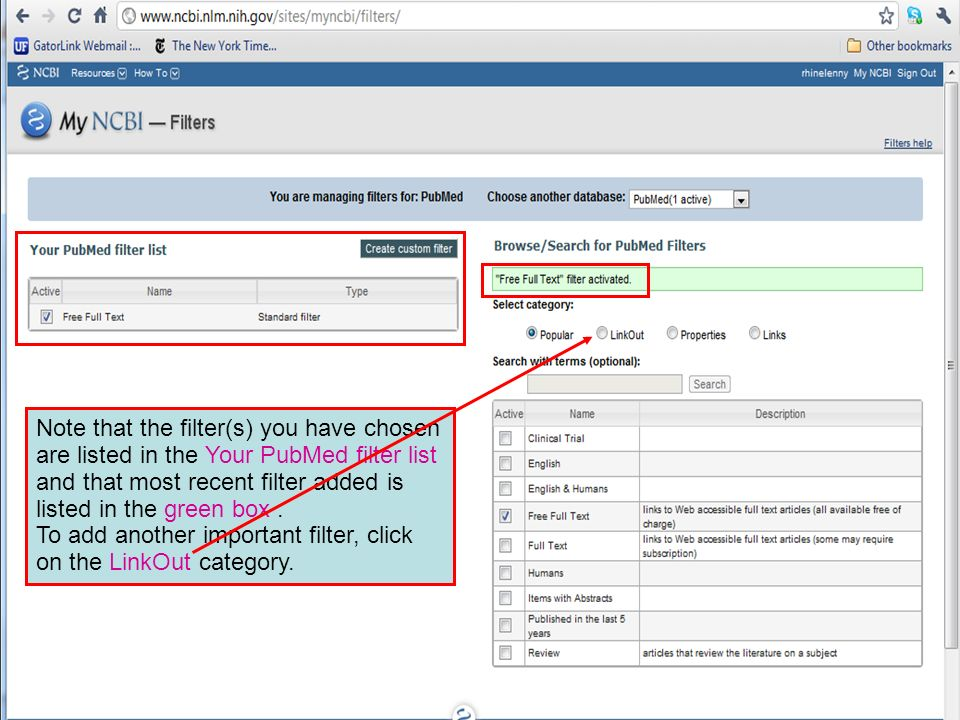 Note that the filter(s) you have chosen are listed in the Your PubMed filter list and that most recent filter added is listed in the green box.