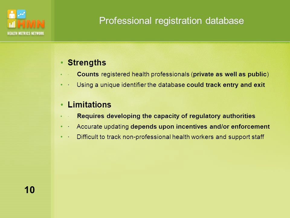 Professional registration database Strengths · Counts registered health professionals (private as well as public) · Using a unique identifier the database could track entry and exit Limitations · Requires developing the capacity of regulatory authorities · Accurate updating depends upon incentives and/or enforcement · Difficult to track non-professional health workers and support staff 10