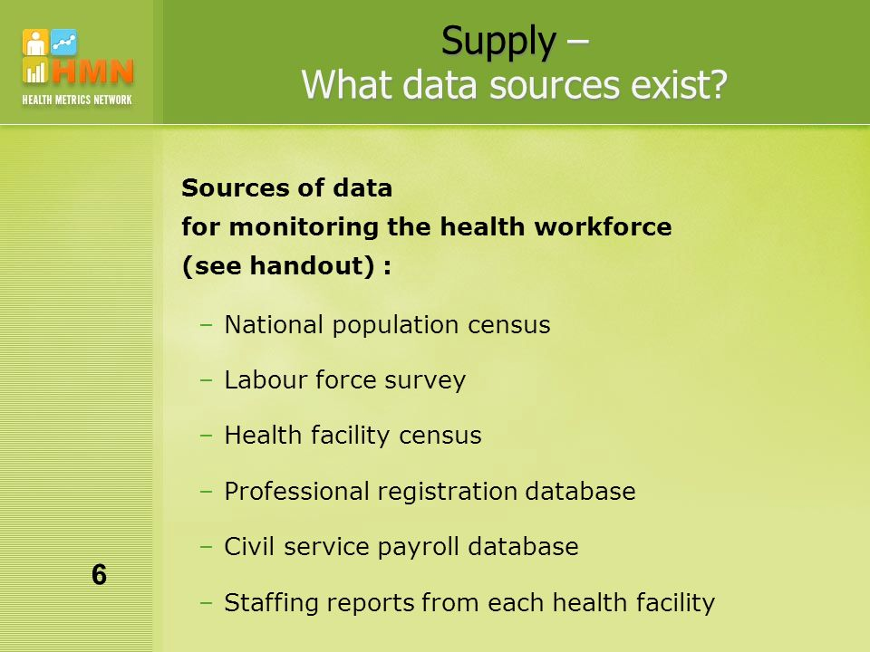 Supply – What data sources exist.