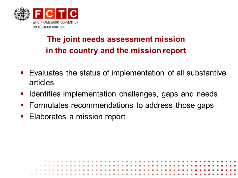 Evaluates the status of implementation of all substantive articles Identifies implementation challenges, gaps and needs Formulates recommendations to address those gaps Elaborates a mission report The joint needs assessment mission in the country and the mission report