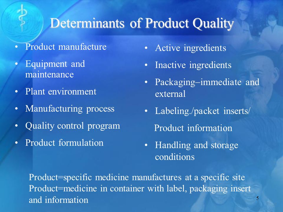 5 Determinants of Product Quality Active ingredients Inactive ingredients Packaging immediate and external Labeling./packet inserts/ Product information Handling and storage conditions Product manufacture Equipment and maintenance Plant environment Manufacturing process Quality control program Product formulation Product=specific medicine manufactures at a specific site Product=medicine in container with label, packaging insert and information
