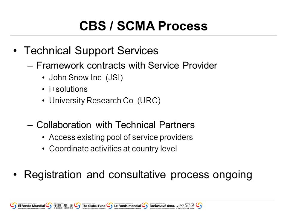 CBS / SCMA Process Technical Support Services –Framework contracts with Service Provider John Snow Inc.