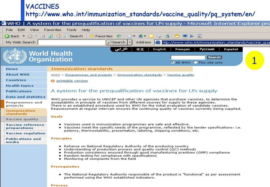 3 Department of Medicines Policy and Standards, Health Technology and Pharmaceuticals VACCINES http://www.who.int/immunization_standards/vaccine_quality/pq_system/en/ 1