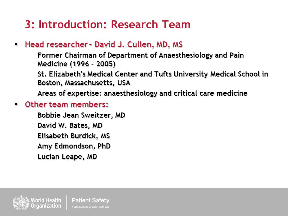 3: Introduction: Research Team Head researcher – David J.