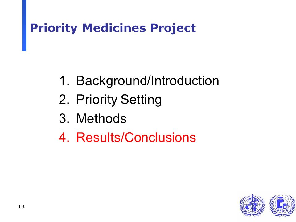 13 Priority Medicines Project 1.Background/Introduction 2.Priority Setting 3.Methods 4.Results/Conclusions