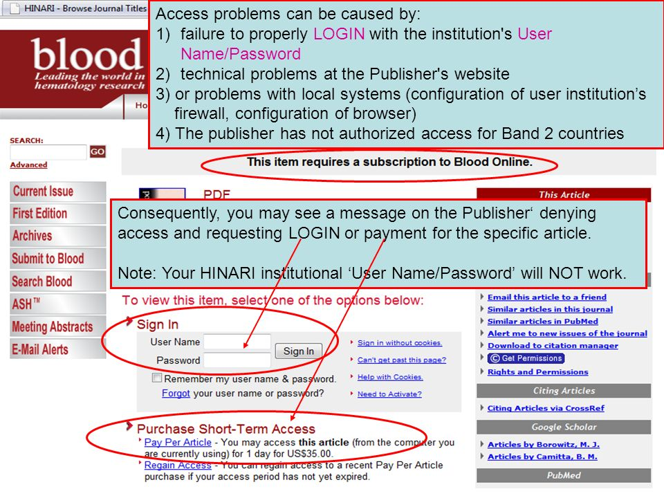 Access problems can be caused by: 1)failure to properly LOGIN with the institution s User Name/Password 2)technical problems at the Publisher s website 3) or problems with local systems (configuration of user institutions firewall, configuration of browser) 4) The publisher has not authorized access for Band 2 countries Consequently, you may see a message on the Publisher denying access and requesting LOGIN or payment for the specific article.