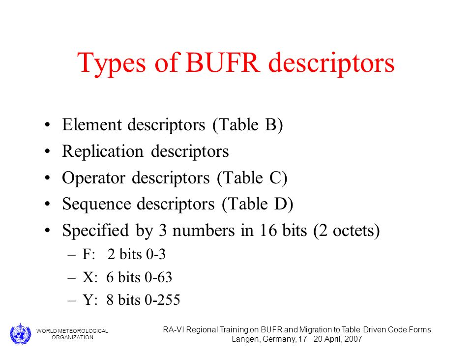 WORLD METEOROLOGICAL ORGANIZATION RA-VI Regional Training on BUFR and Migration to Table Driven Code Forms Langen, Germany, 17 - 20 April, 2007 Types of BUFR descriptors Element descriptors (Table B) Replication descriptors Operator descriptors (Table C) Sequence descriptors (Table D) Specified by 3 numbers in 16 bits (2 octets) –F: 2 bits 0-3 –X: 6 bits 0-63 –Y: 8 bits 0-255