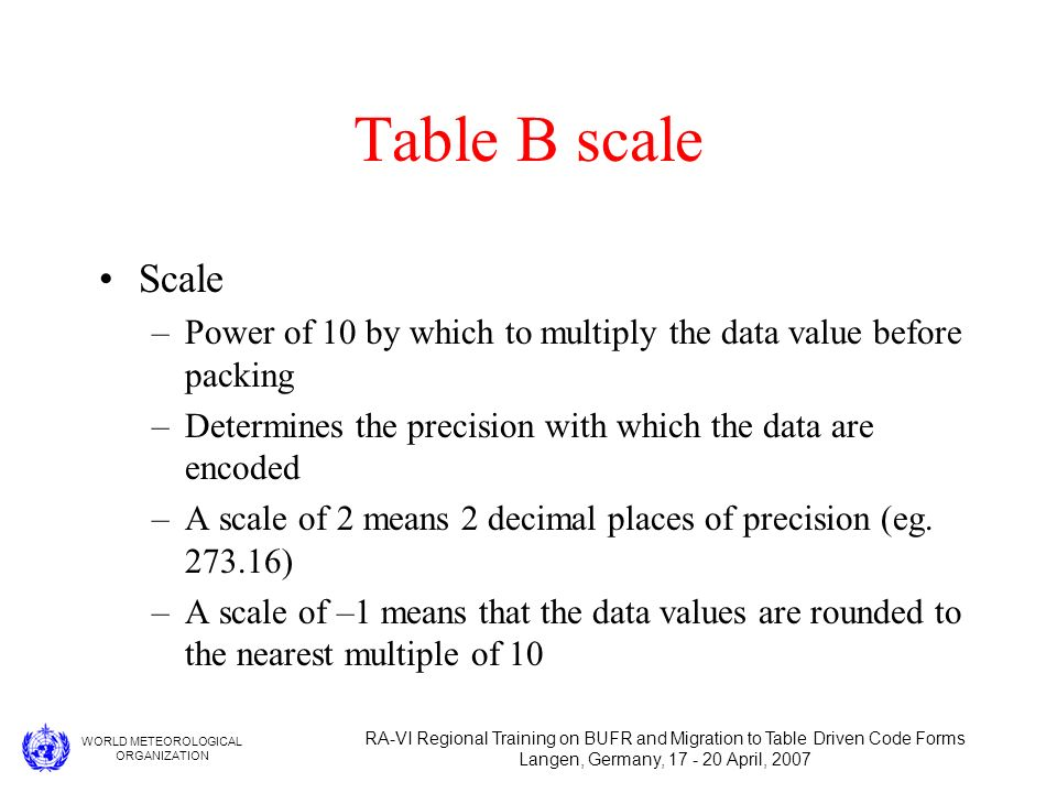 WORLD METEOROLOGICAL ORGANIZATION RA-VI Regional Training on BUFR and Migration to Table Driven Code Forms Langen, Germany, 17 - 20 April, 2007 Table B scale Scale –Power of 10 by which to multiply the data value before packing –Determines the precision with which the data are encoded –A scale of 2 means 2 decimal places of precision (eg.