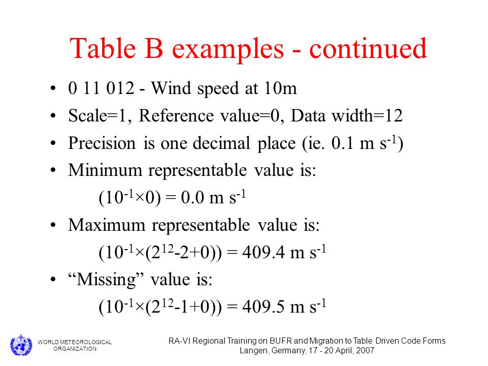 WORLD METEOROLOGICAL ORGANIZATION RA-VI Regional Training on BUFR and Migration to Table Driven Code Forms Langen, Germany, 17 - 20 April, 2007 Table B examples - continued 0 11 012 - Wind speed at 10m Scale=1, Reference value=0, Data width=12 Precision is one decimal place (ie.