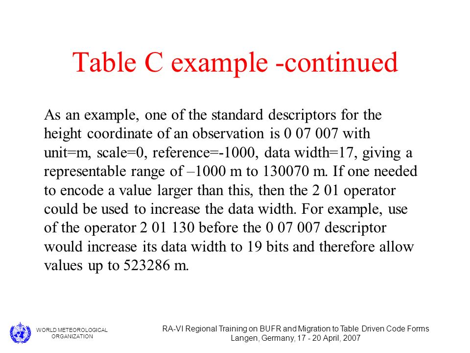 WORLD METEOROLOGICAL ORGANIZATION RA-VI Regional Training on BUFR and Migration to Table Driven Code Forms Langen, Germany, 17 - 20 April, 2007 Table C example -continued As an example, one of the standard descriptors for the height coordinate of an observation is 0 07 007 with unit=m, scale=0, reference=-1000, data width=17, giving a representable range of –1000 m to 130070 m.