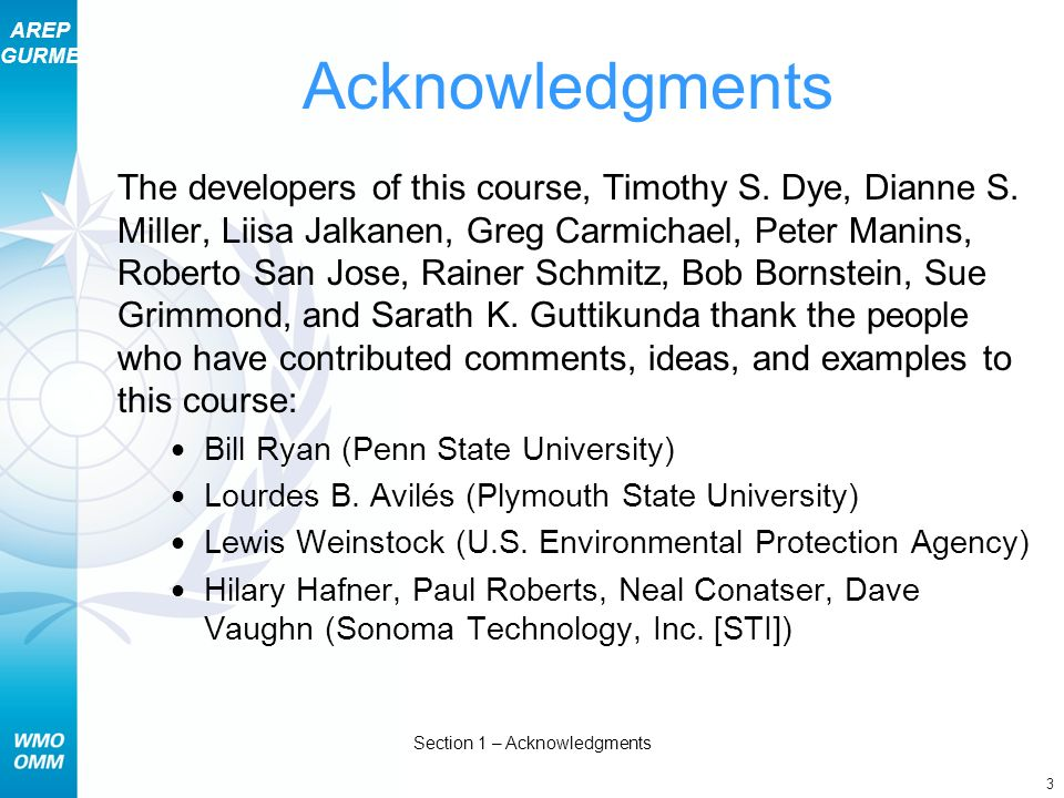 AREP GURME 3 Section 1 – Acknowledgments The developers of this course, Timothy S.