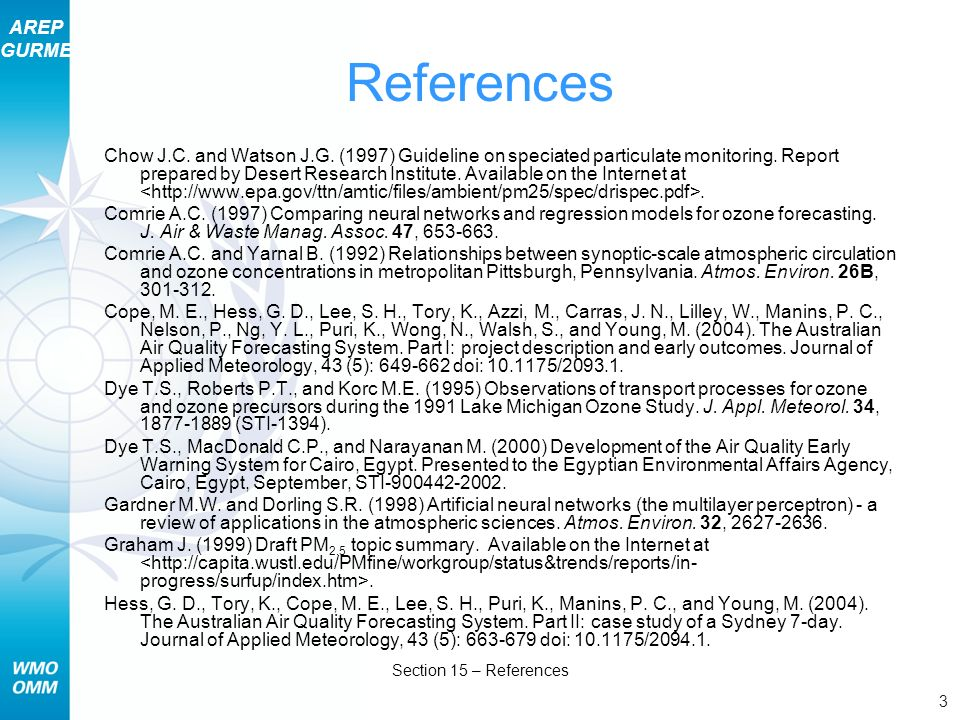 AREP GURME 3 Section 15 – References References Chow J.C.