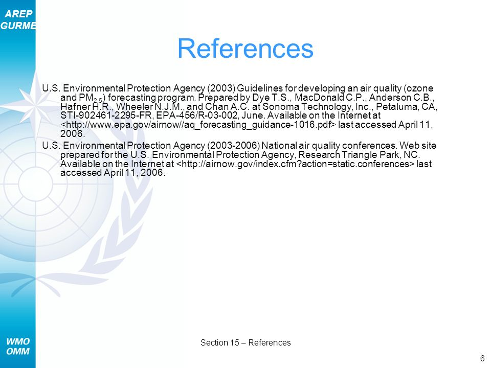 AREP GURME 6 Section 15 – References References U.S.