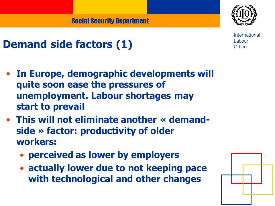 Social Security Department International Labour Office Demand side factors (1) In Europe, demographic developments will quite soon ease the pressures of unemployment.