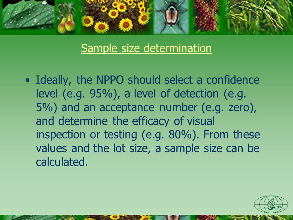 Sample size determination Ideally, the NPPO should select a confidence level (e.g.