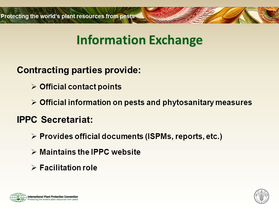 Information Exchange Contracting parties provide: Official contact points Official information on pests and phytosanitary measures IPPC Secretariat: Provides official documents (ISPMs, reports, etc.) Maintains the IPPC website Facilitation role
