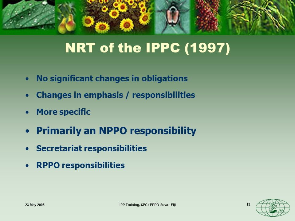 23 May 2005IPP Training, SPC / PPPO Suva - Fiji 13 NRT of the IPPC (1997) No significant changes in obligations Changes in emphasis / responsibilities More specific Primarily an NPPO responsibility Secretariat responsibilities RPPO responsibilities