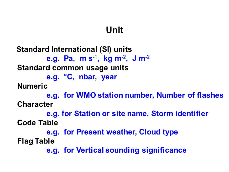 Unit Standard International (SI) units e.g.