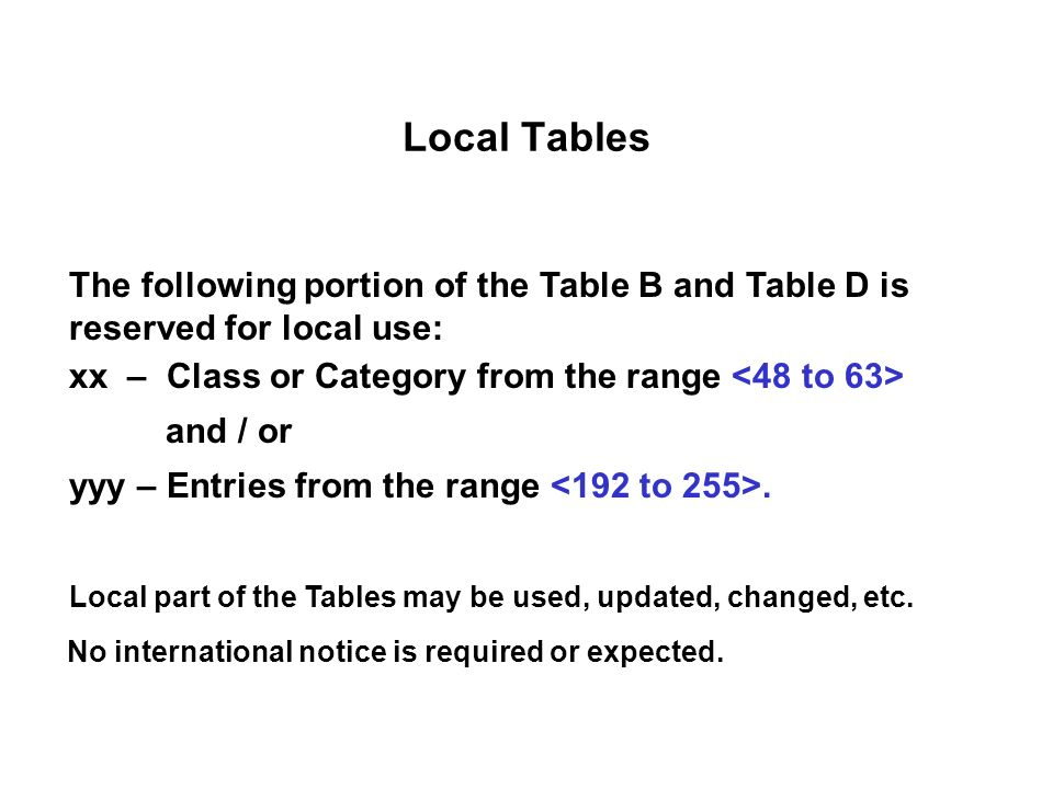 Local Tables The following portion of the Table B and Table D is reserved for local use: xx – Class or Category from the range and / or yyy – Entries from the range.