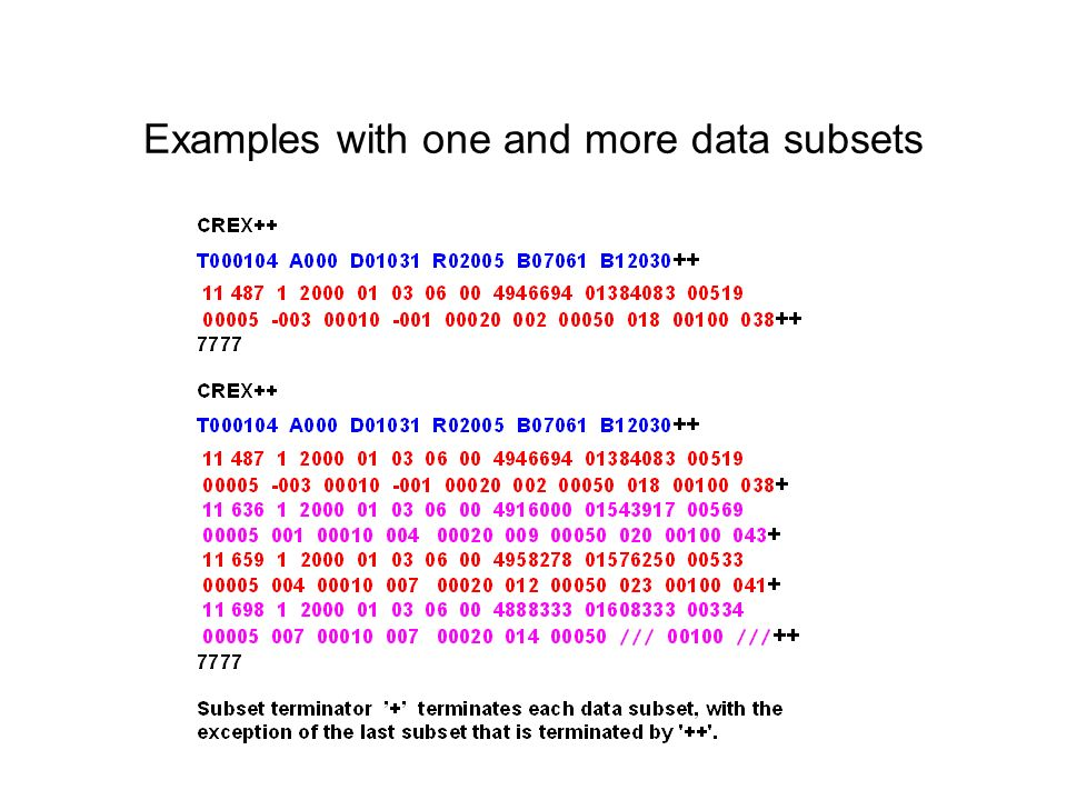 Examples with one and more data subsets