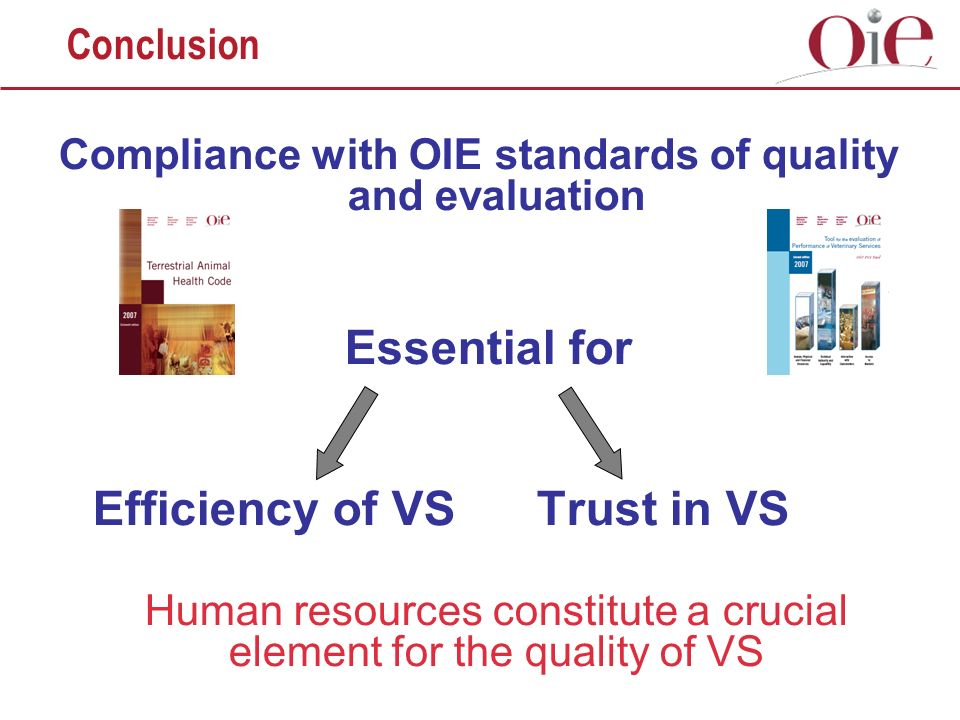 Compliance with OIE standards of quality and evaluation Essential for Efficiency of VSTrust in VS Human resources constitute a crucial element for the quality of VS Conclusion