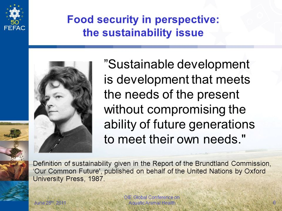6 OIE Global Conference on Aquatic Animal Health June 28 th, 2011 Food security in perspective: the sustainability issue Sustainable development is development that meets the needs of the present without compromising the ability of future generations to meet their own needs. Definition of sustainability given in the Report of the Brundtland Commission, Our Common Future , published on behalf of the United Nations by Oxford University Press, 1987.