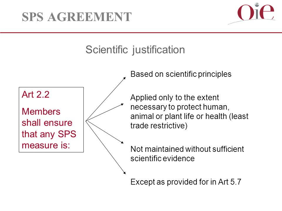 SPS AGREEMENT Scientific justification Art 2.2 Members shall ensure that any SPS measure is: Based on scientific principles Applied only to the extent necessary to protect human, animal or plant life or health (least trade restrictive) Not maintained without sufficient scientific evidence Except as provided for in Art 5.7