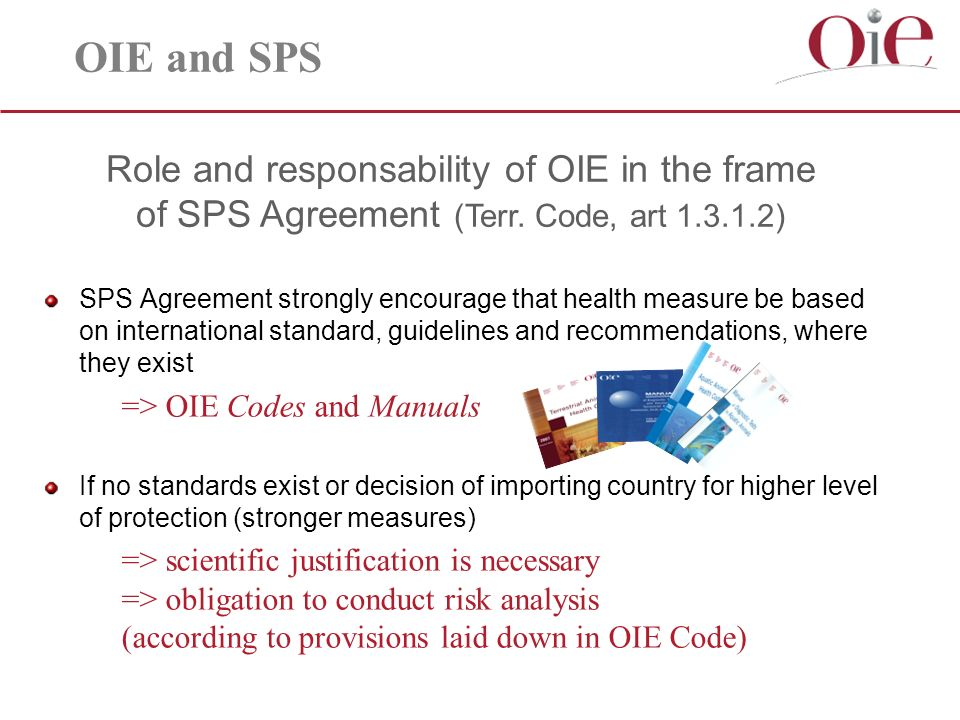 Role and responsability of OIE in the frame of SPS Agreement (Terr.