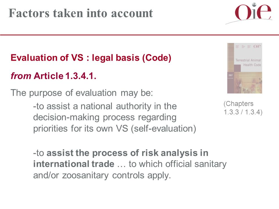 Evaluation of VS : legal basis (Code) from Article 1.3.4.1.
