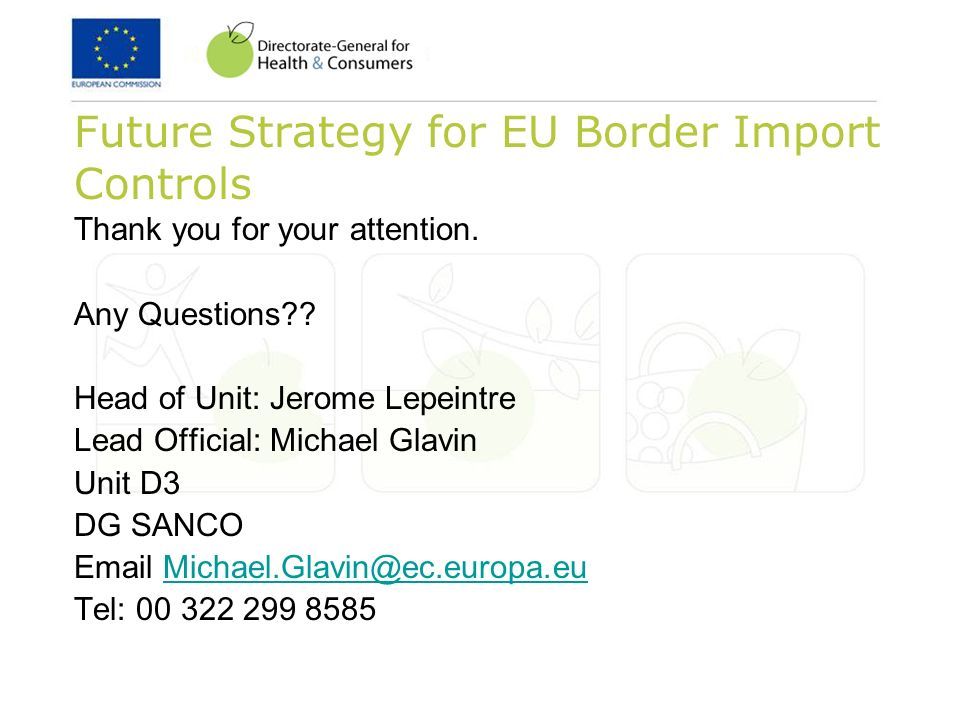 Future Strategy for EU Border Import Controls Thank you for your attention.
