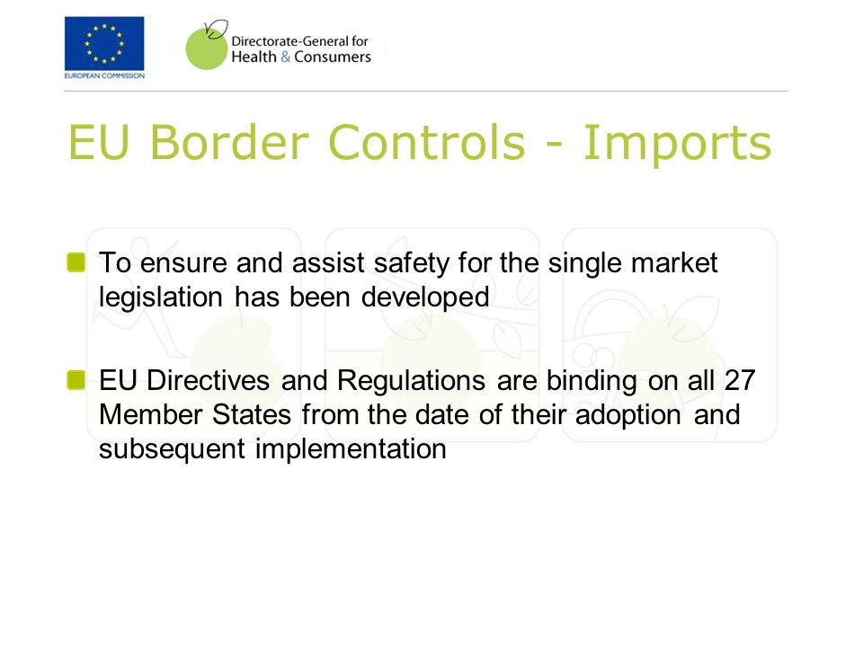 EU Border Controls - Imports To ensure and assist safety for the single market legislation has been developed EU Directives and Regulations are binding on all 27 Member States from the date of their adoption and subsequent implementation