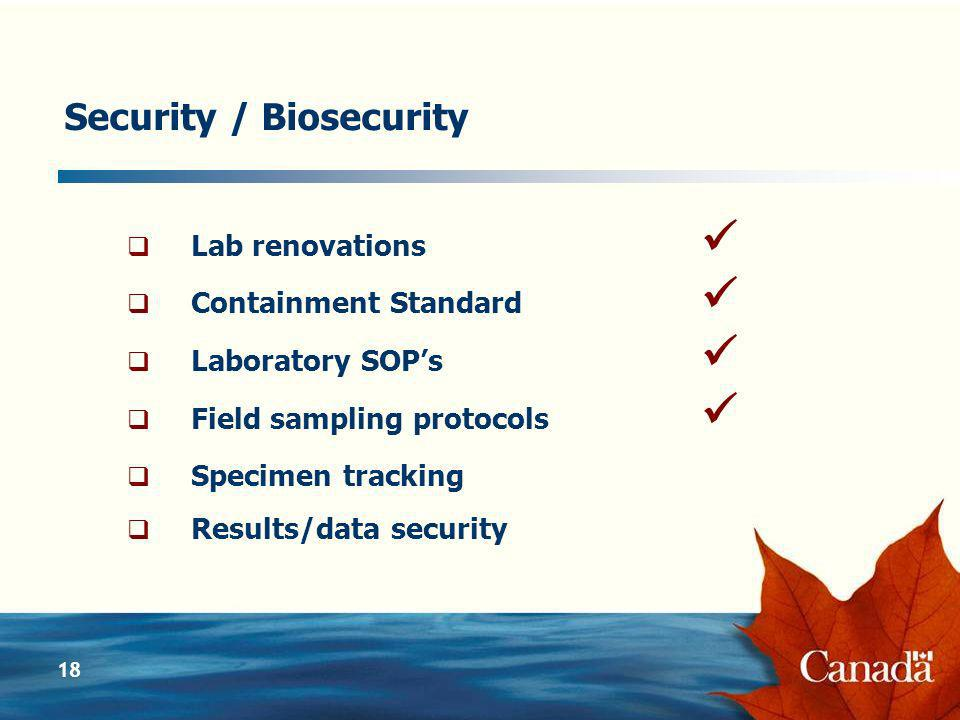18 Security / Biosecurity Lab renovations Containment Standard Laboratory SOPs Field sampling protocols Specimen tracking Results/data security