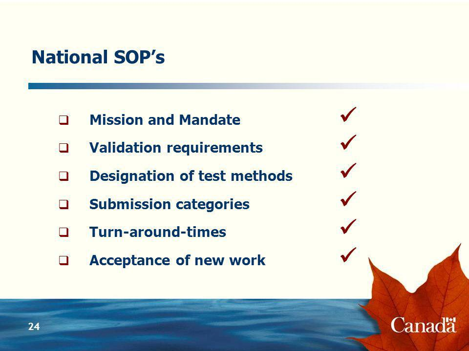 24 National SOPs Mission and Mandate Validation requirements Designation of test methods Submission categories Turn-around-times Acceptance of new work