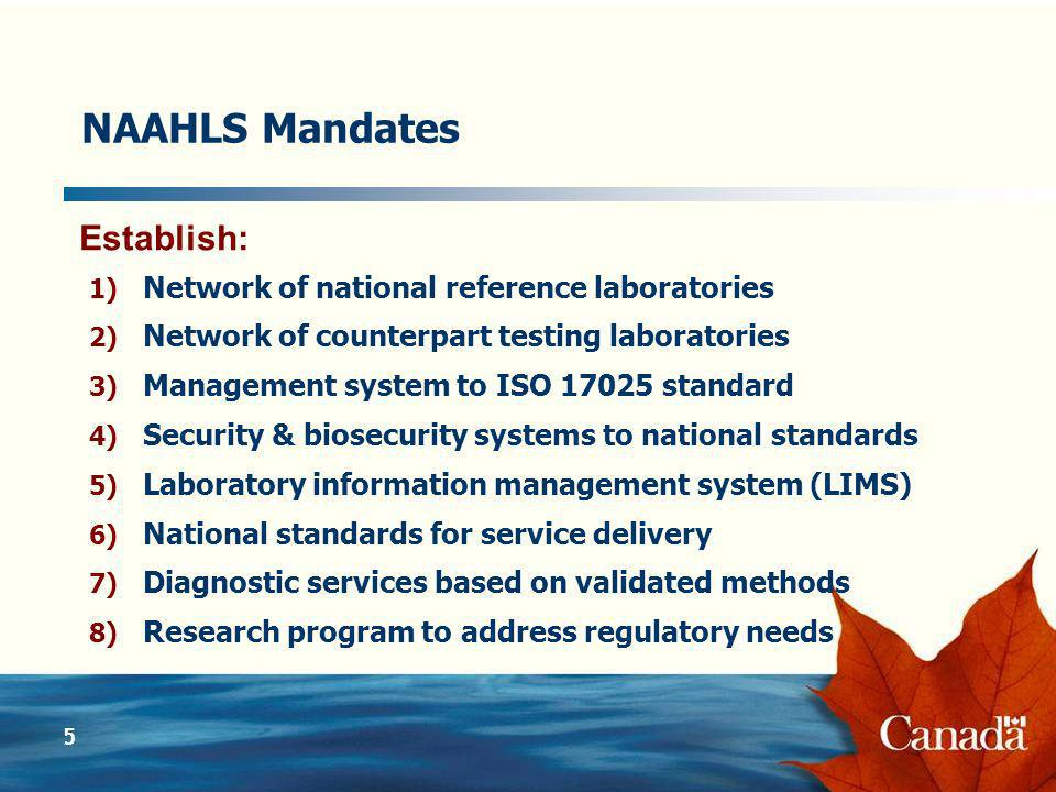 5 NAAHLS Mandates 1) Network of national reference laboratories 2) Network of counterpart testing laboratories 3) Management system to ISO 17025 standard 4) Security & biosecurity systems to national standards 5) Laboratory information management system (LIMS) 6) National standards for service delivery 7) Diagnostic services based on validated methods 8) Research program to address regulatory needs Establish: