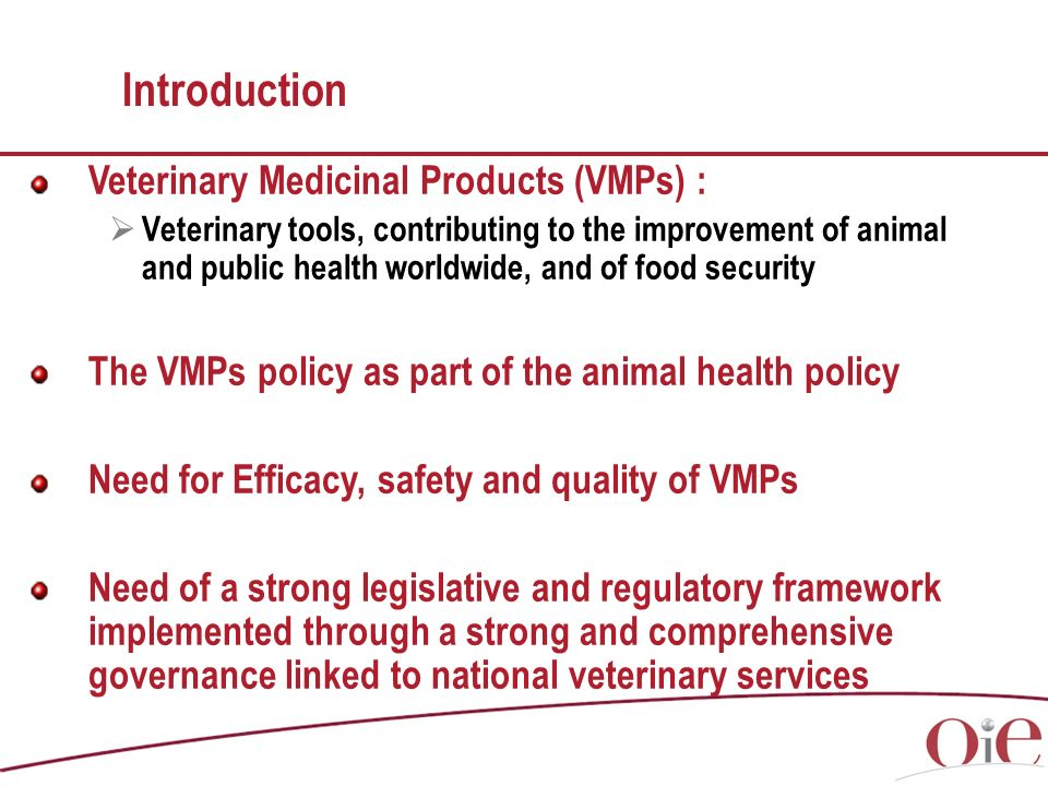 Introduction Veterinary Medicinal Products (VMPs) : Veterinary tools, contributing to the improvement of animal and public health worldwide, and of food security The VMPs policy as part of the animal health policy Need for Efficacy, safety and quality of VMPs Need of a strong legislative and regulatory framework implemented through a strong and comprehensive governance linked to national veterinary services