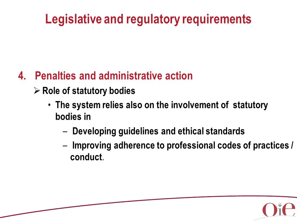 Legislative and regulatory requirements 4.Penalties and administrative action Role of statutory bodies The system relies also on the involvement of statutory bodies in – Developing guidelines and ethical standards – Improving adherence to professional codes of practices / conduct.