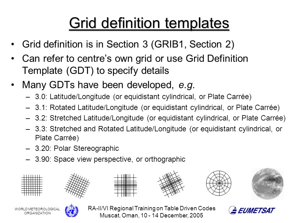 WORLD METEOROLOGICAL ORGANIZATION RA-II/VI Regional Training on Table Driven Codes Muscat, Oman, 10 - 14 December, 2005 Grid definition templates Grid definition is in Section 3 (GRIB1, Section 2) Can refer to centres own grid or use Grid Definition Template (GDT) to specify details Many GDTs have been developed, e.g.