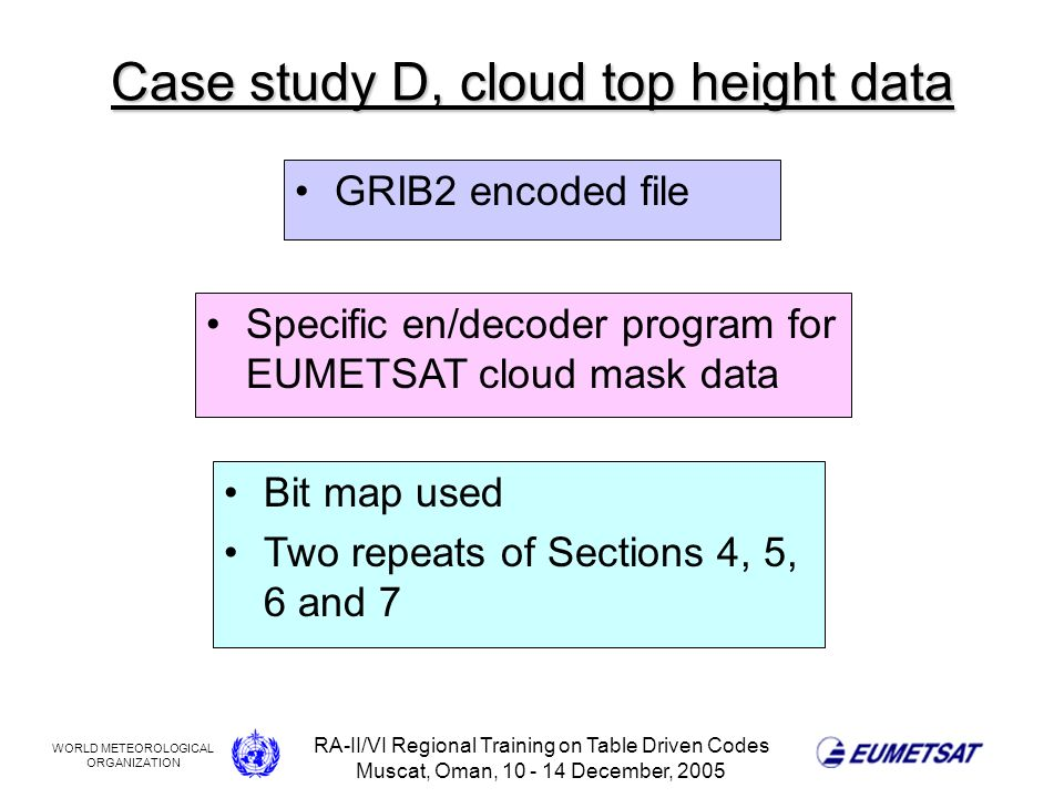 WORLD METEOROLOGICAL ORGANIZATION RA-II/VI Regional Training on Table Driven Codes Muscat, Oman, 10 - 14 December, 2005 Case study D, cloud top height data GRIB2 encoded file Specific en/decoder program for EUMETSAT cloud mask data Bit map used Two repeats of Sections 4, 5, 6 and 7